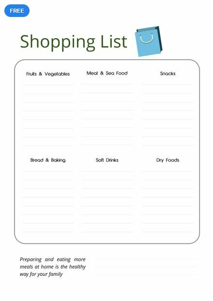 Free Grocery Shopping List List Templates  Designs 2019