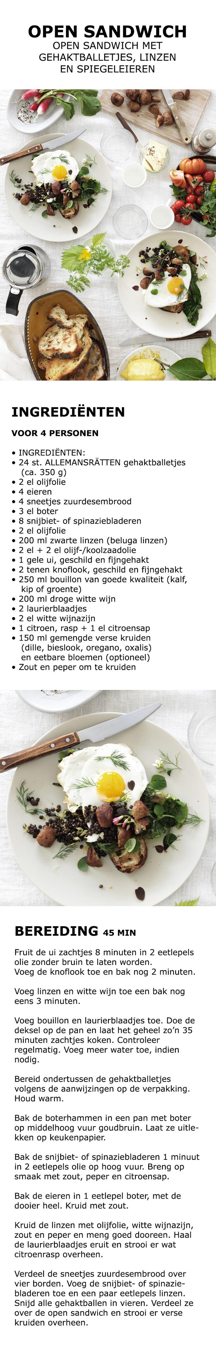 Inspiratie voor de feestdagen - Open sandwich met gehaktballetjes, linzen en spiegeleieren | IKEA IKEAnederland koken keuken recept herfst winter kerst diner lunch brood zuurdesem zuurdesembrood ei spinazi snijbiet witte wijn citroen kruiden