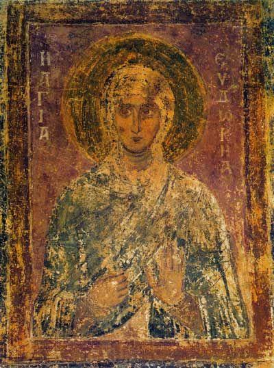 Святая Евдокия Фреска западной внутренней галереи.