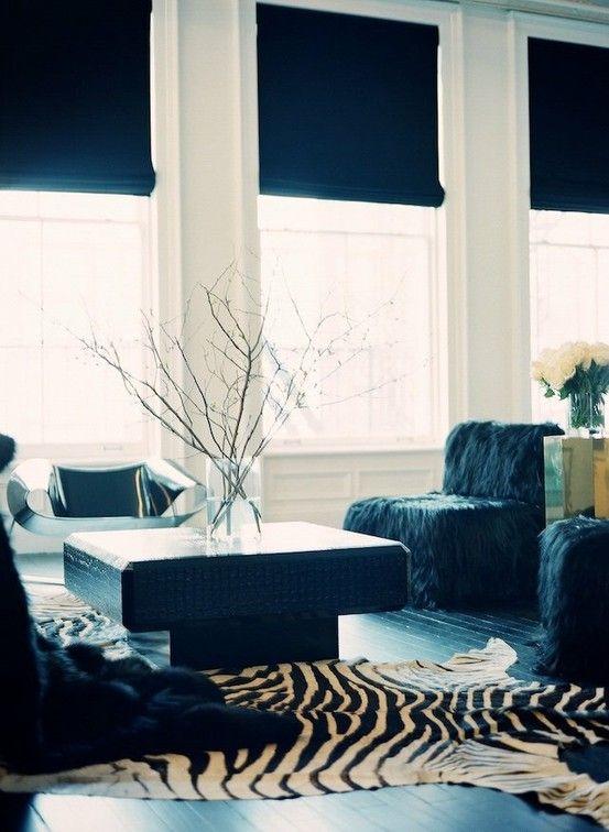 Love the dark shades against the white walls.
