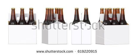 Six brown beer bottles in white corton pack. Four Different views 3D render, isolated on white background.