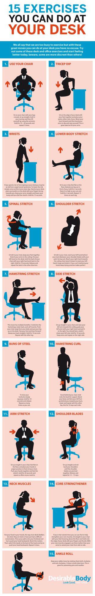 Ejercicios de escritorio: Rutinas para mantenerte en buena forma mientras estás en tu oficina #infografia