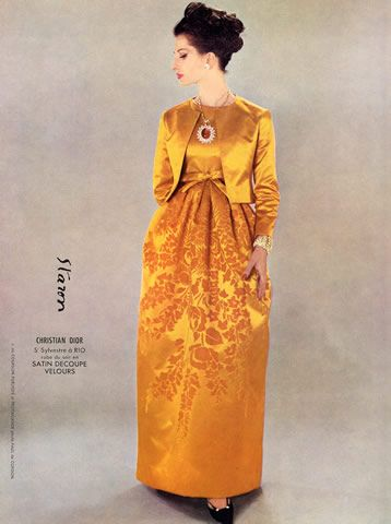 Empire line balloon skirt gown with bolero style jacket. Love the pendant! Christian Dior 1962 Evening Gown
