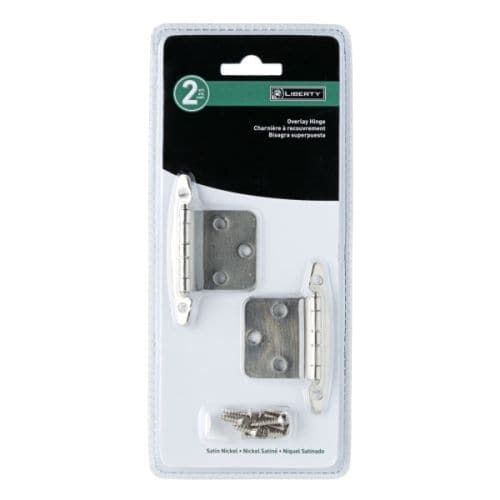 2-7/8 x 2-1/2 Inch Overlay Hinge without Spring (2 Pack), Silver steel