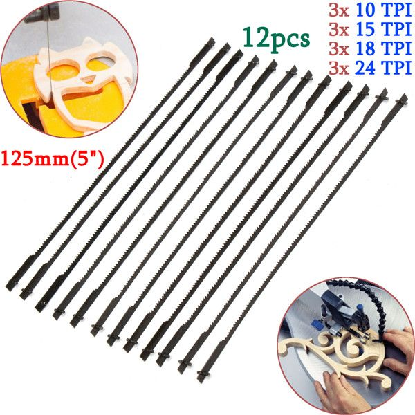 12pcs 5 Inch 125mm Pinned Scroll Saw Blades Wood Working Power Tool Accessories