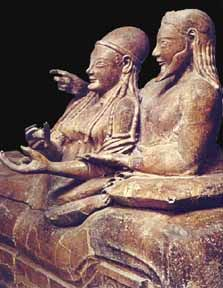 From the Etruscans, the people in Italy before the Romans. A sarcophagus of a married (so happily) couple. See it at Villa Giuglia museum in Rome. I spent an undergrad year in Rome and took an Etruscan art class at the museum. Heavenly.