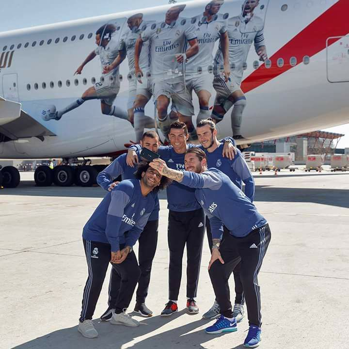 Selfie! ✈ Emirates 🤣 Marcelo M12 😊 Karim Benzema 😄 Cristiano Ronaldo 😃 Gareth Bale 🤳 Sergio Ramos #fashion #style #stylish #love #me #cute #photooftheday #nails #hair #beauty #beautiful #design #model #dress #shoes #heels #styles #outfit #purse #jewelry #shopping #glam #cheerfriends #bestfriends #cheer #friends #indianapolis #cheerleader #allstarcheer #cheercomp  #sale #shop #onlineshopping #dance #cheers #cheerislife #beautyproducts #hairgoals #pink #hotpink #sparkle #heart #hairspray…