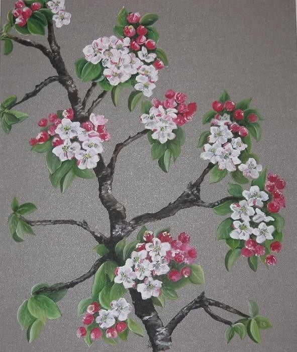 peinture branches fleurs de pommier sur toile de lin toile et branches. Black Bedroom Furniture Sets. Home Design Ideas