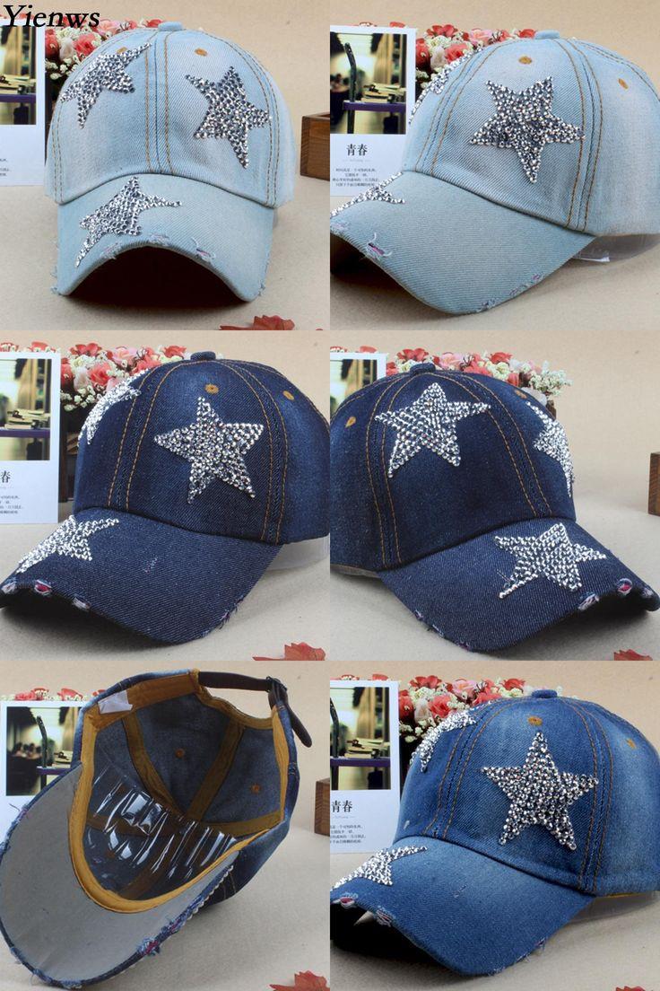 [Visit to Buy] Yienws Women Baseball Cap For Woman Jeans Denim Vintage Bone Brim Curved Cap Diamonds Korean Pop Summer Cap YH264 #Advertisement