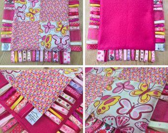 Baby meisje roze Fushia gele vlinder vlinders Taggie Taggy deken Trooster Quilt Lovey Patchwork lint kwekerij douche Gift Bright