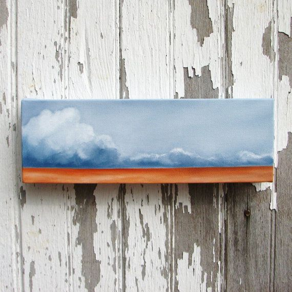 Cloud Landscape original oil painting wall art storm abstract neutral rustic colors home decor - Latitude series eight. 12x4