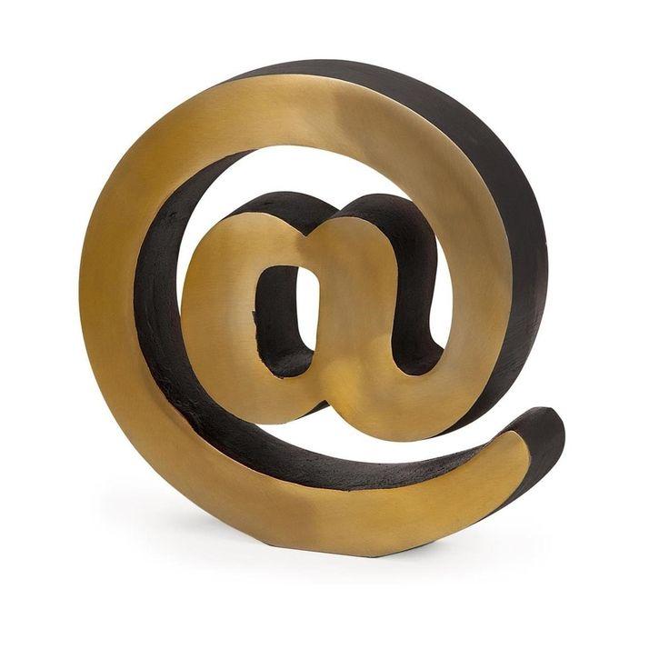 "10 Brass Look ""At"" Symbol Decorative Desktop Accessory, Gold"