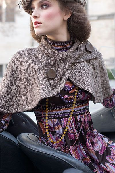 I am drawn to the Romantic look. This outfit is tailored yet has a layered feel of romance in the pattern and textures. Nostalgic Wardrobe has pieces that bring an era of romantic style to a modern day.