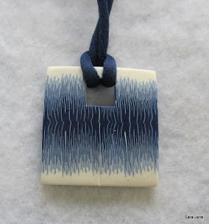 Pinner says - My square sort of Ikat pendant - originally on my old blog - transferred to my new blog with loads of new content here's that post http://www.carajane.co.uk/2011/03/feeling-square.html