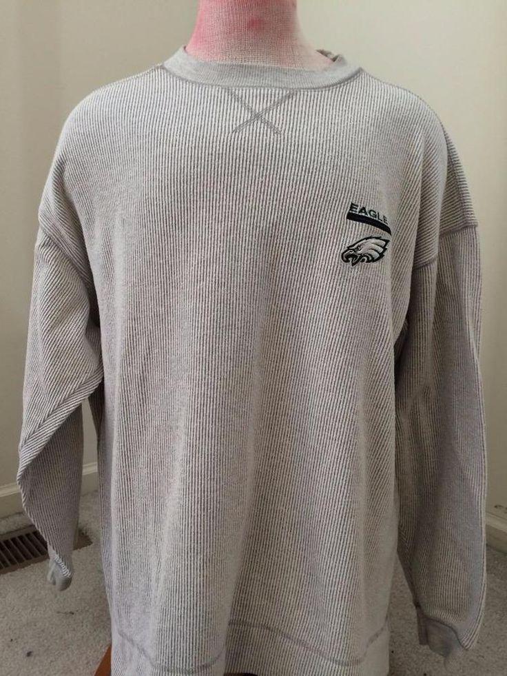 PHILADELPHIA EAGLES NFL sweatshirt size XL large light grey ribbed long sleeve #NFL #PhiladelphiaEagles