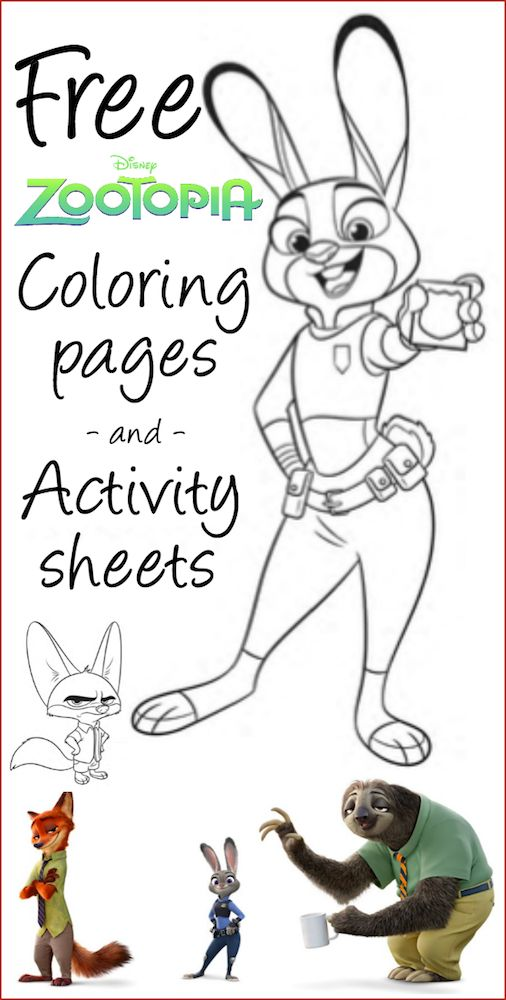 free printable zootopia coloring sheets and activity pages disney printables. Black Bedroom Furniture Sets. Home Design Ideas