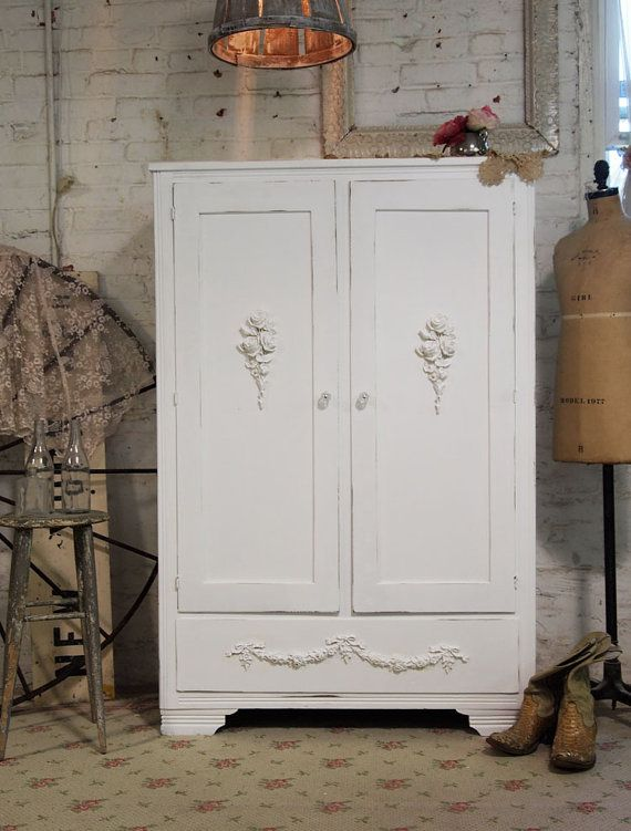 Painted Cottage Chic Shabby White Romantic Armoire