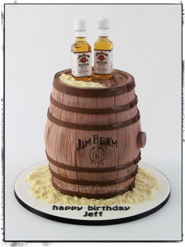 Jim Beam barrel birthday cake.