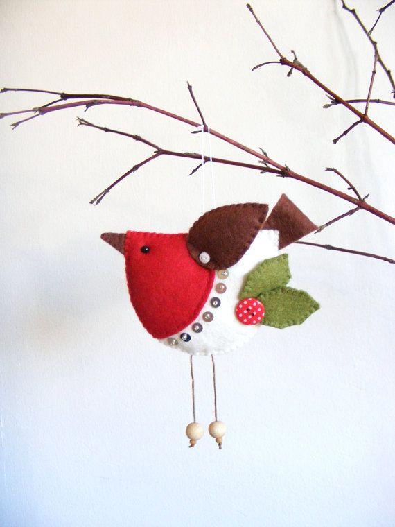 PDF pattern - Felt robin. Christmas tree ornament, easy sewing pattern, bird pattern