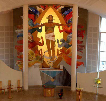 Resurrection, St Paul de Meythet Church, Arcabas, Jean-Marie Pirot, 1998