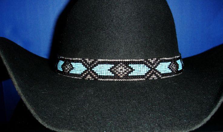 Western Equestrian Decor Cowboy/Cowgirl Blue/Black Beaded HAT BAND W/Two Tassels #WESTERNAMERICANA #WesternCowboy