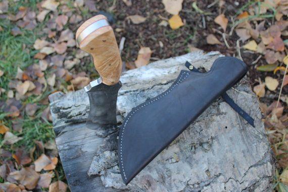 Leaf spring camp knife by AHKnives on Etsy