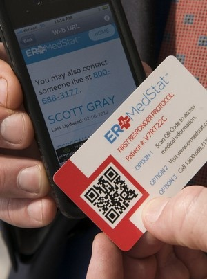 This is a great idea! A card with a QR code on it that, when scanned, pulls up your medical history, allergies, & contacts for emergency room workers to know in case of emergency.   ((Still not a GO for me, but in theory it's a great tool.))