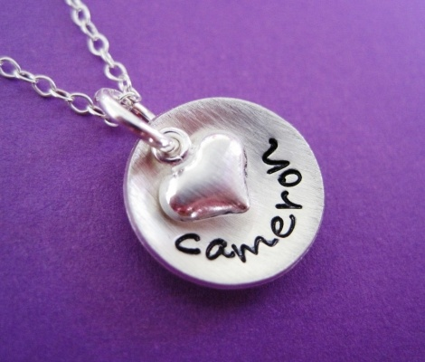 necklace: Puffy Heart, Gift, Hands, Byhannahdesign Com, Hand Stamped Necklace, Sterling Silver Jewelry, Hannah Design