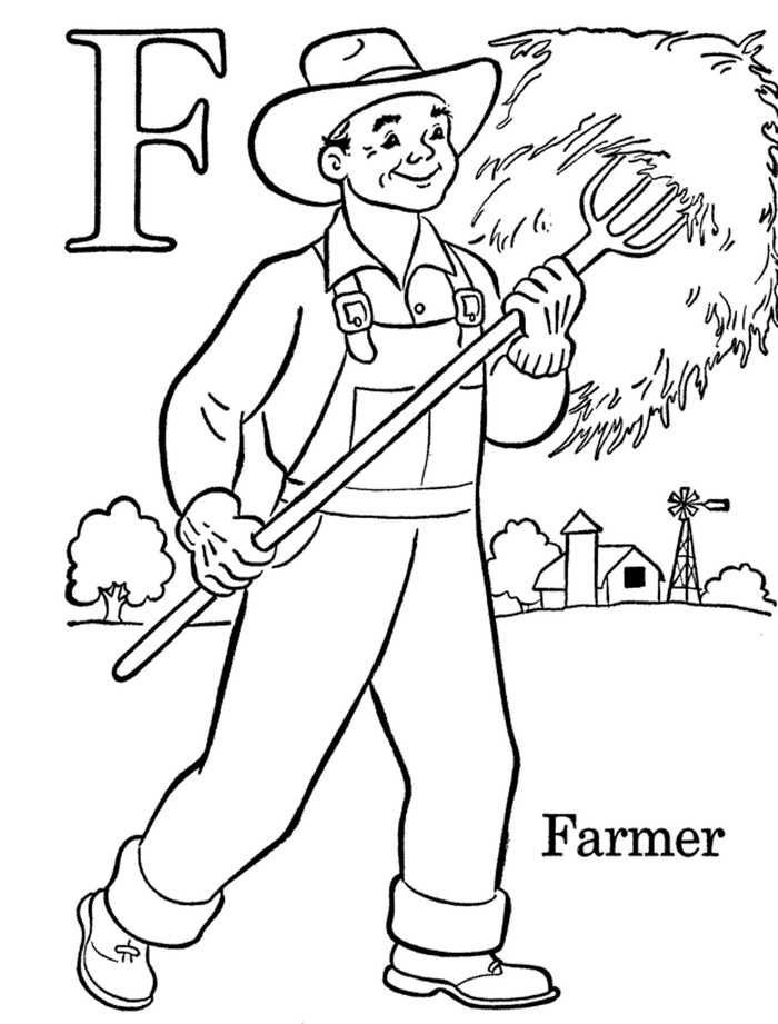 Farmer Coloring Pages Farm Coloring Pages Abc Coloring Abc Coloring Pages