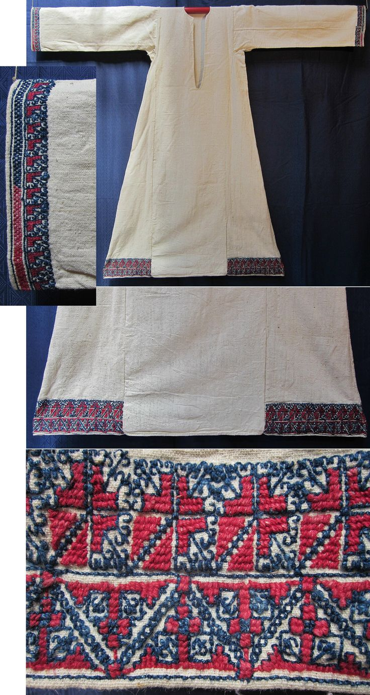 Front of a 'göynek' (underdress for women) with (cotton on cotton) embroidered underside. From the Marmara region, mid-20th century. Ethnic group: Türkmen. (Inv.nr. gnk004 - Kavak Folklor Ekibi & Costume Collection-Antwerpen/Belgium).