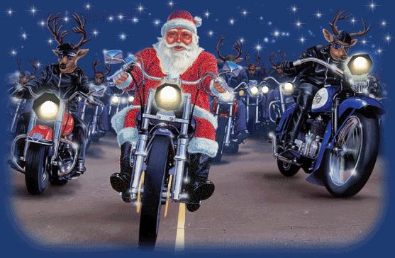 Motorcycles Harley Davidson Santa Claus Reindeer Merry Christmas animation animations animated gif gifs smilie smiley smilies smileys photo SantaReindeerMotorBikes.gif