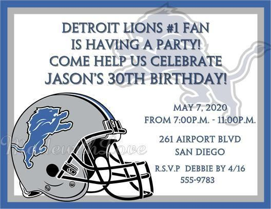Detroit Lions Birthday Party Football Super Bowl Invitations Adult Personalized