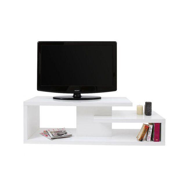 Meuble TV design laqué blanc HALTON MILIBOO : prix, avis & notation, livraison.  Pratique et moderne, le meuble TV design HALTON sera idéal dans un salon contemporain. Ses différents espaces de rangement permettront d'optimiser le coin TV en accueillant décodeurs, télécommandes et même vos objets de décoration préférés ! Sa ligne épurée, ses finitions de qualité en font un meuble TV design facile à vivre et simple ...