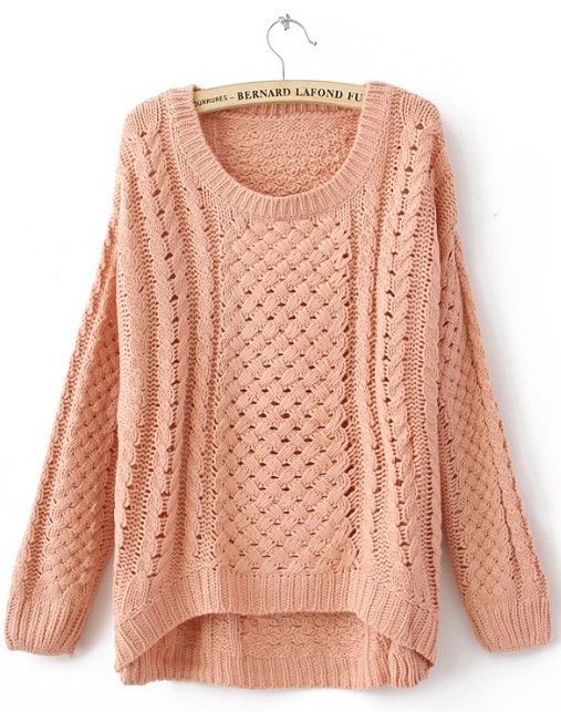 Pink Round Neck Long Sleeve Hollow Sweater