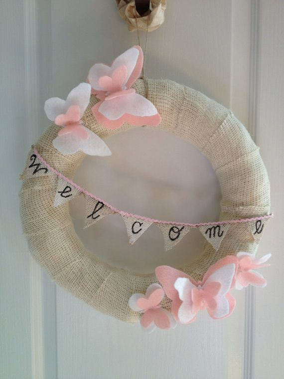 Pink and White Felt Butterfly Light Burlap Welcome Wreath, Burlap Wreath Felt Butterflies, Welcome Wreath