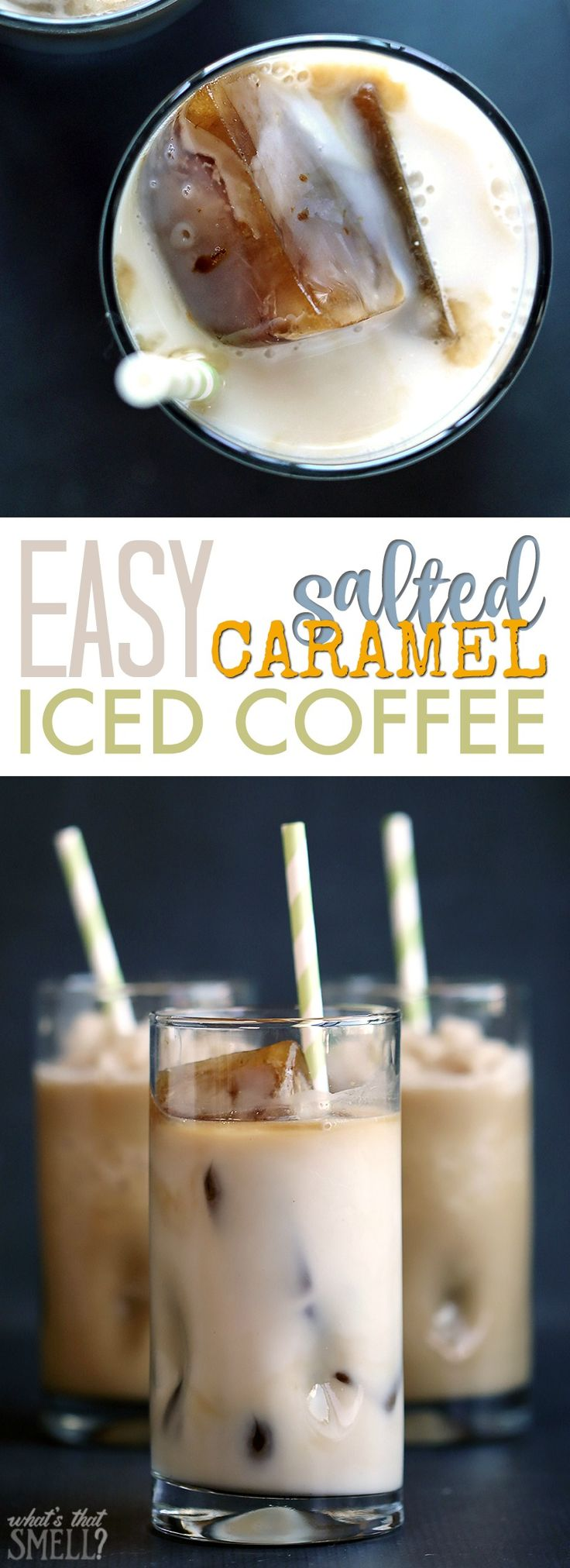 Easy Salted Caramel Iced or Frozen Coffee Recipe - Just 3 ingredients make a…