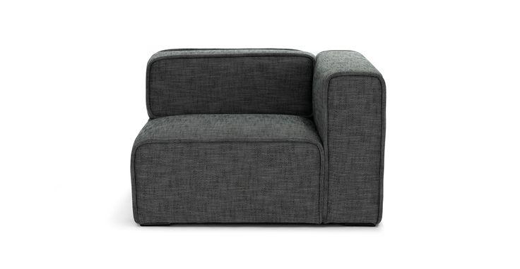 Quadra Carbon Gray Right Arm Chair