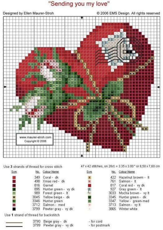 HEART ENVELOPE cross stitch chart.  Gallery.ru / Фото #1 - Сердце и марка - DELERJE