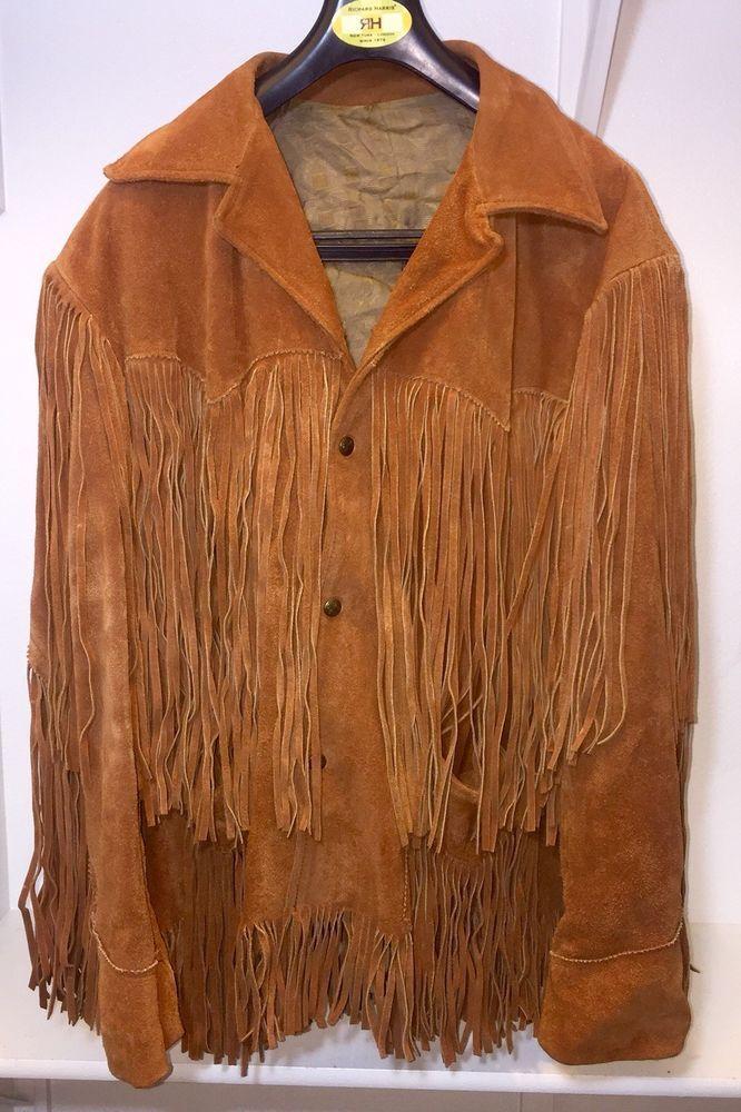 2debaece665 QUALITY Western Brown Suede Leather Fringe Jacket L (44) Tregos Westwear   fashion  clothing  shoes  accessories  vintage  mensvintageclothing (ebay  link)
