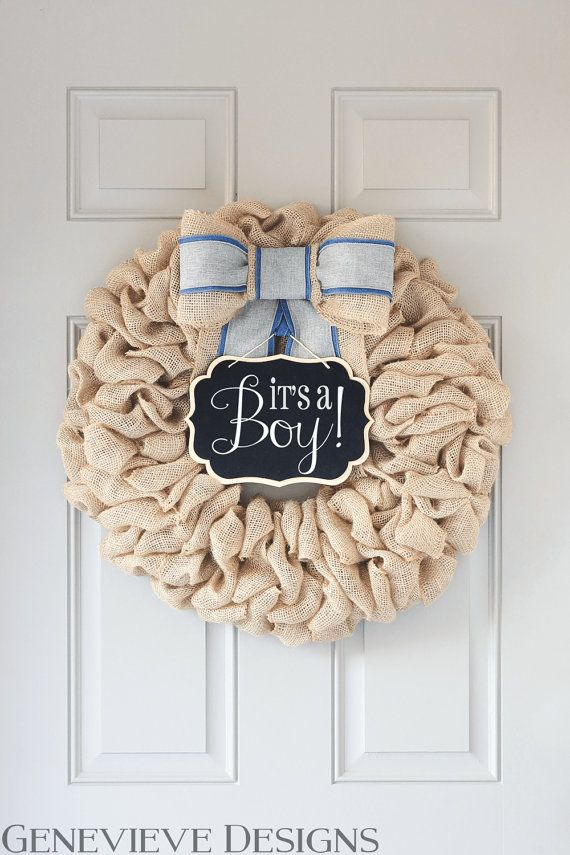 Best 25 baby boy wreath ideas on pinterest baby shower for Baby shower front door decoration ideas