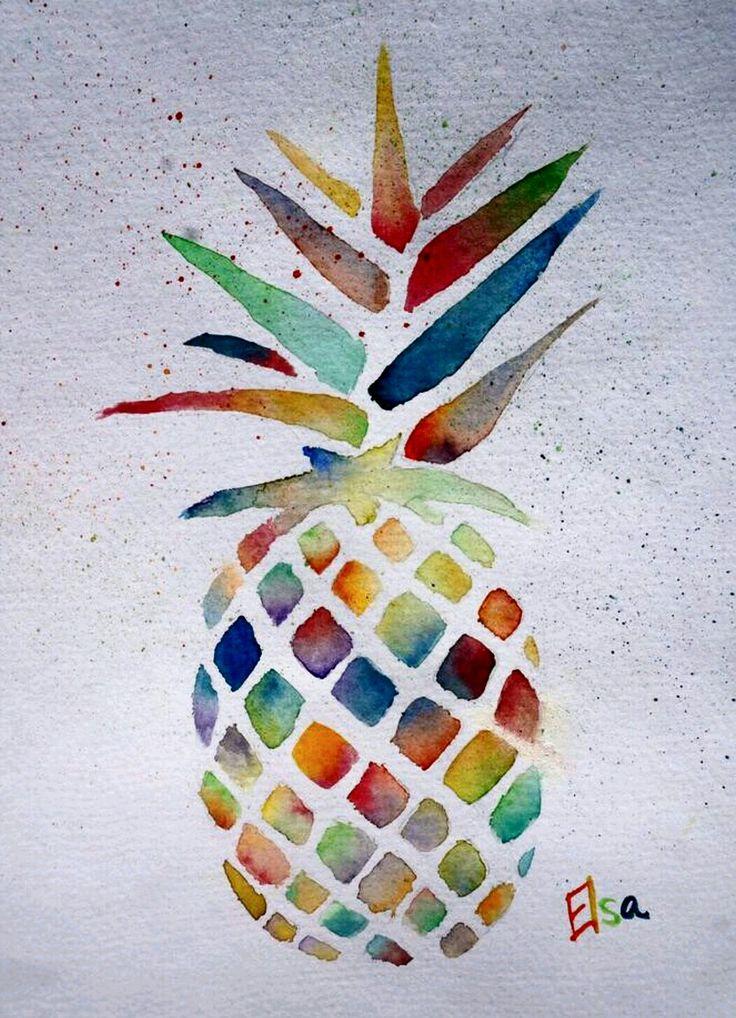 """Pineapple"" Watercolor painting by @elsa_creative on instagram"