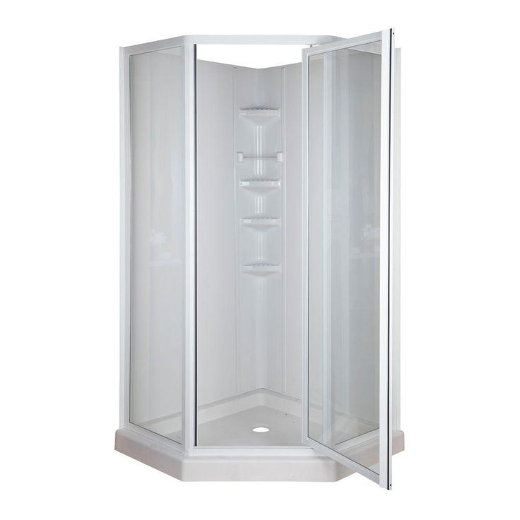 $389 Neo-Angle 38 in. x 38 in. x 74-3/4 in. Standard Fit Corner Shower Kit-402005 - The Home Depot