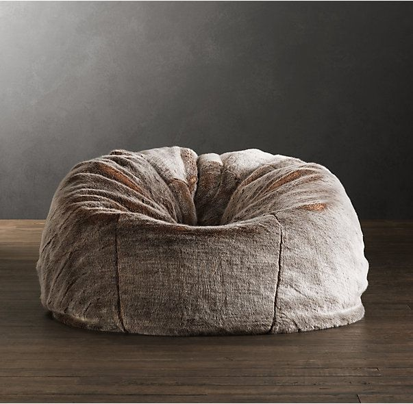 Grand Luxe Faux Fur Bean Bag Chair - Lynx ( interior home theatre)
