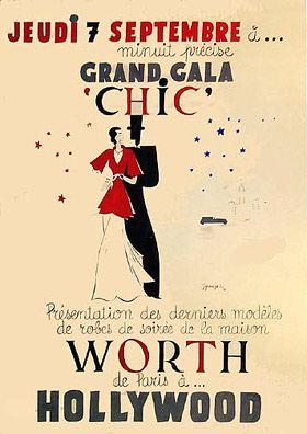 """Grand gala """"chic"""" - présentation des derniers modèles de robes de soirée de la maison Worth de Paris à Hollywood - 1933 - (J. Grange) -"""