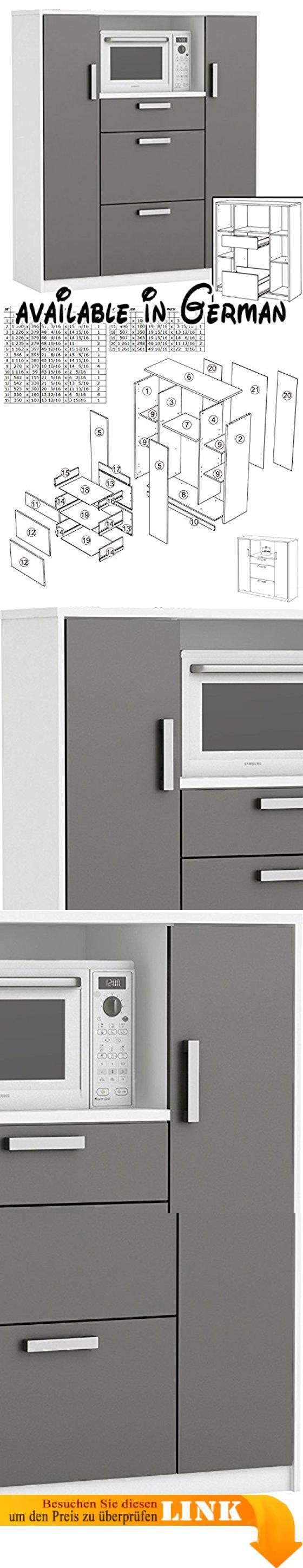 B06XC3231B : moderner Küchenschrank #8540 weiß grau Miniküche Küchenzeile Küchenregal Schrank. Singleküche Küchenschrank in weiss & graphit-grau. Maße: Breite ca. 116 cm x Höhe ca. 132 cm x Tiefe ca. 40 cm - Gewicht ca. 68 kg. Material: melaminharzbeschichtete Holz-Spanplatte in 15/22 mm. inkl. 3 x Schublade 2 x Fach mit Tür Ablagefläche. ohne Dekoration & Geräte - inkl. leicht verständlicher Aufbauanleitung #Furniture #HOME_FURNITURE_AND_DECOR