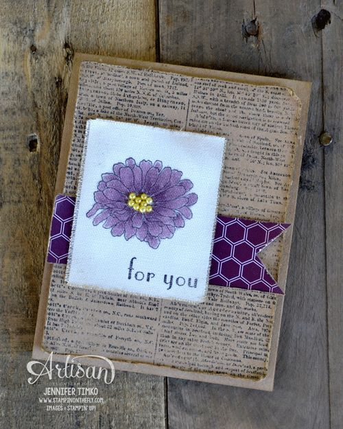 Forever Florals stamp set stamped in Tuxedo Black Memento ink on a piece of Canvas Creations