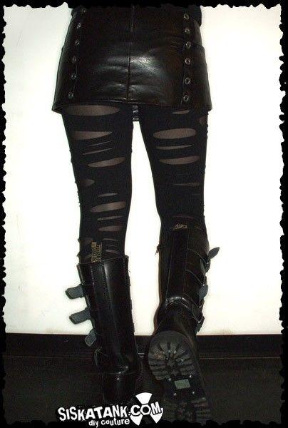 BROKEN Black Post Apocalyptic Leggings Double Layer by siskatank