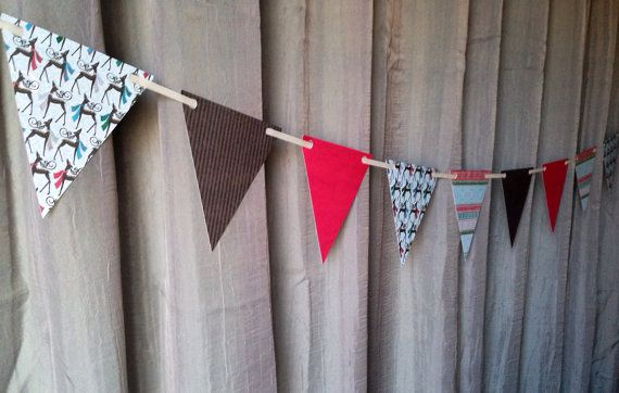 Holiday paper garland pennant, bunting, banner, flags, Office or home decor  on Etsy, $12.00