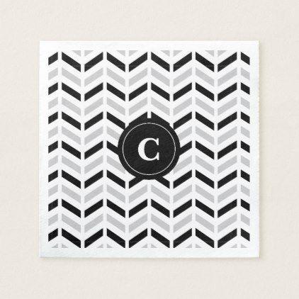 Personalized Black & White Chevron: Paper napkins - monogram gifts unique design style monogrammed diy cyo customize