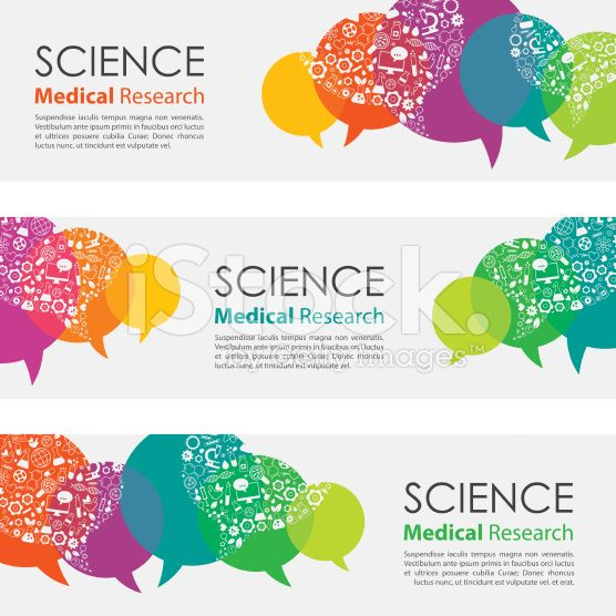 Science Medical Research Banners And Icon Set royalty-free stock vector art